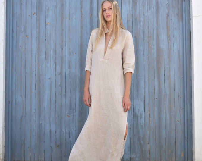 EMMA. Powder pink long shirtdress. Lightweight cool linen caftan.