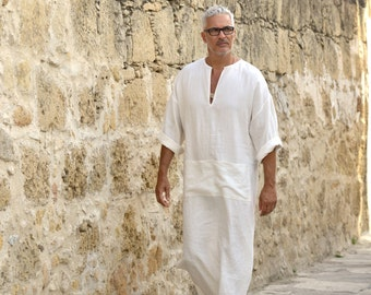 CLASSICO. Mens chalk white soft linen caftan with front pocket. Light weight  beach cover up. Hooded or non hooded.