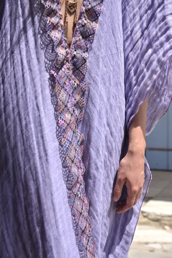 soft poncho up CLEO long Beautiful detail cover Beach linen ultra lace cotton Purple SxqEX