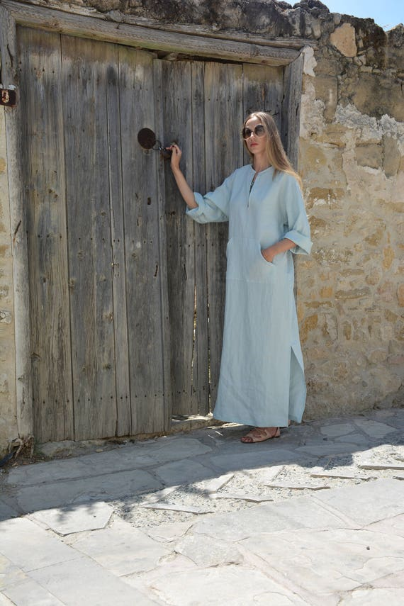 pure Tunic Women's contemporary pocket linen Icy blue JEFF caftan fabric Softened Front 7IqwBFnT