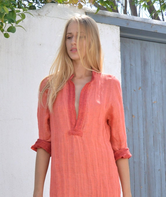 linen red soft shirtdress linen tunic Maxi EMMA ethereal Coral EqtCxnw5Z