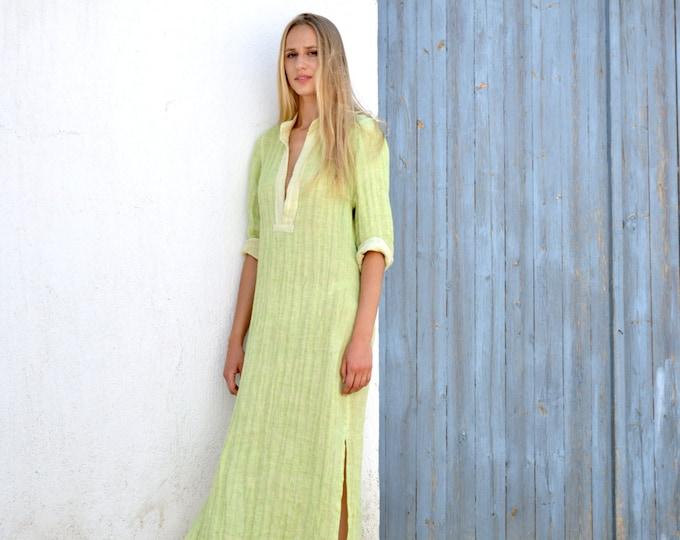 Long Linen Dress EMMA. Lime women's shirtdress. Fluffy wrinkled maxi tunic. Pure linen.