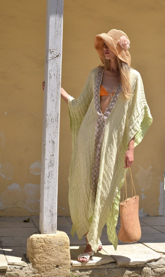 caftan CLEO Champaign color ultra long with coverup poncho beach lace soft Long linen BqZq0wOr1
