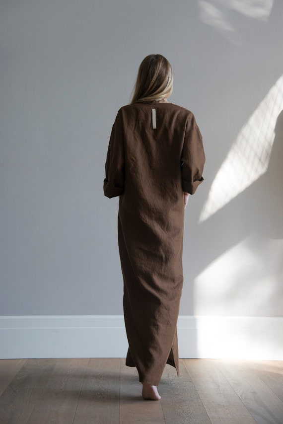 tunic Soft front Women's linen pure Brown JEFF with Coffee pocket caftan xf7HAx0Oq
