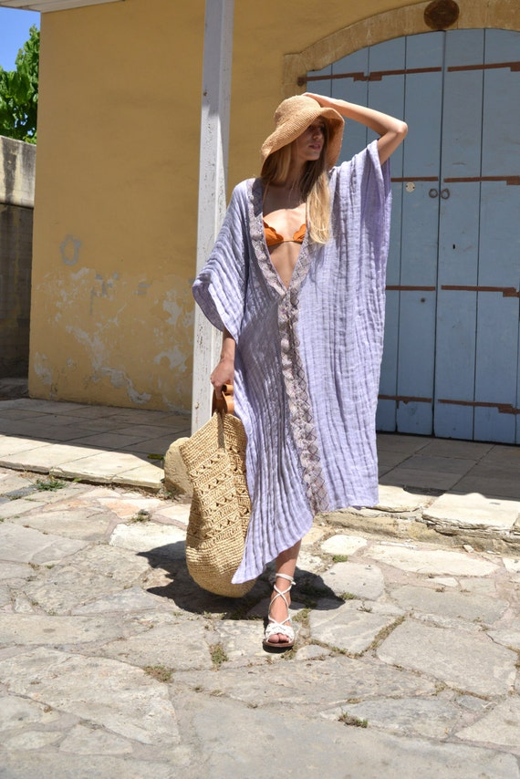 soft long tunic linen Delicate lace CLEO Violet super poncho trimming xIdq6vq