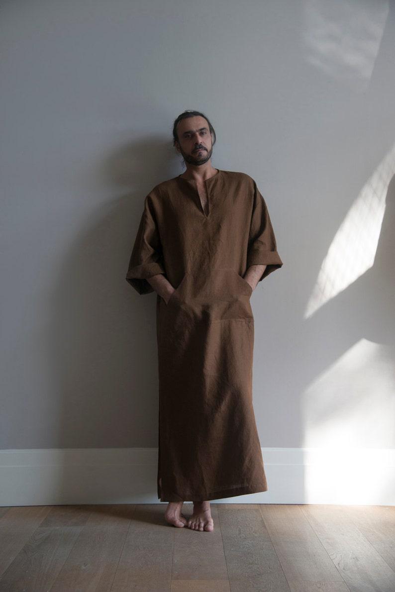 5519b3c4dd CLASSICO. Coffee Brown Men s unique tunic. Simple design