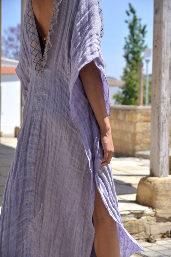 Violet poncho trimming Delicate CLEO soft long super lace tunic linen O1OnSW
