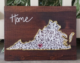 Virginia string art home state sign