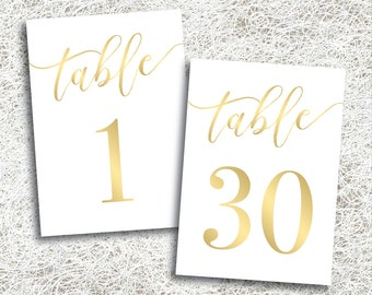 Gold Printable Wedding Table Numbers 1 - 30 | Instant Download | Printable Gold Table Numbers | Events | Banquet | Reception (FROST Set)