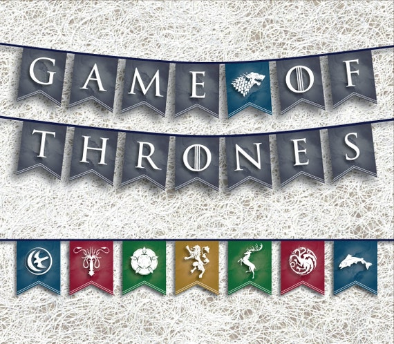 Game Of Thrones Inspired Banner Printable Party Supplies Etsy