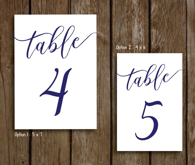 Navy Wedding Table Numbers 1 10 Printable Instant Download