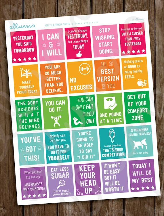 Fitness Planner Stickers Printable Workout Motivational Etsy