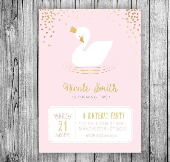 Pink Polka Dots Girl Birthday Party Printable File Princess Birthday Party Party Invite Princess Invitation Personalized Invitation