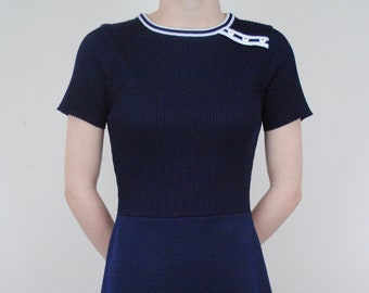 Vintage 70s  Sporty Navy Blue Tennis Dress