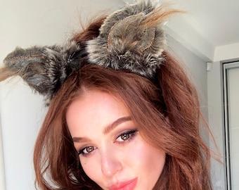 Puppy Cyote Fox Wolf Cat tan brown cream 3064 PAWSTAR Furry Dog Ears Headband