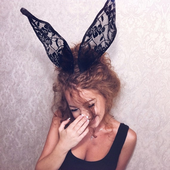 Black Lace Kitten Ears Hair Band will fit most head sizes