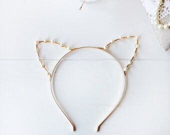Gold or Silver Pearl Cat Ears Headband - Cat Ears - Crystal Cat Ears - Cat Costume - Cosplay Cat Ears - Kitty Ears -  Cat Headband