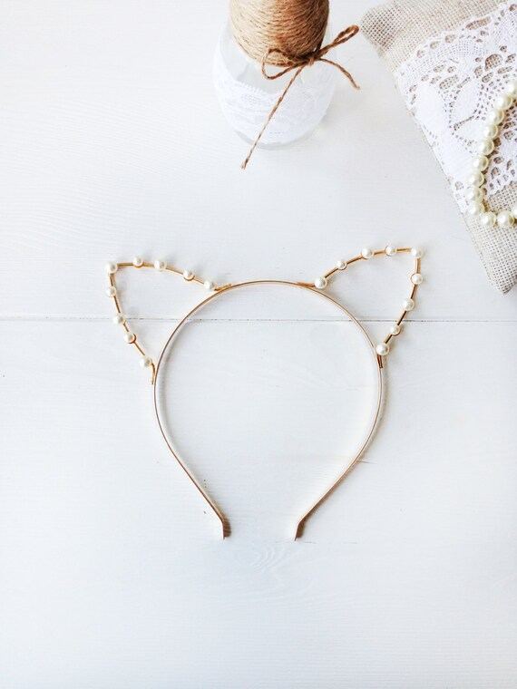 Gold or Silver Pearl Cat Ears Headband Cat Ears Crystal  6bca44804a8