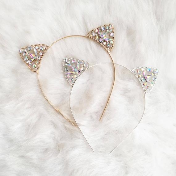 978a504d1 Gold Crystal Cat Ears Headband Cat Ears Crystal Cat Ears | Etsy