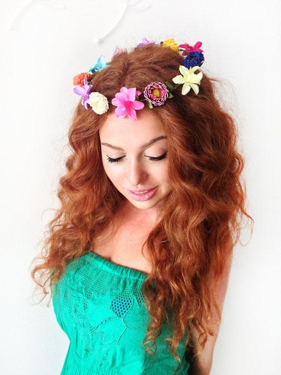 Colorful Flower Headpiece Flower CrownFlower Headband  34697fac5b6