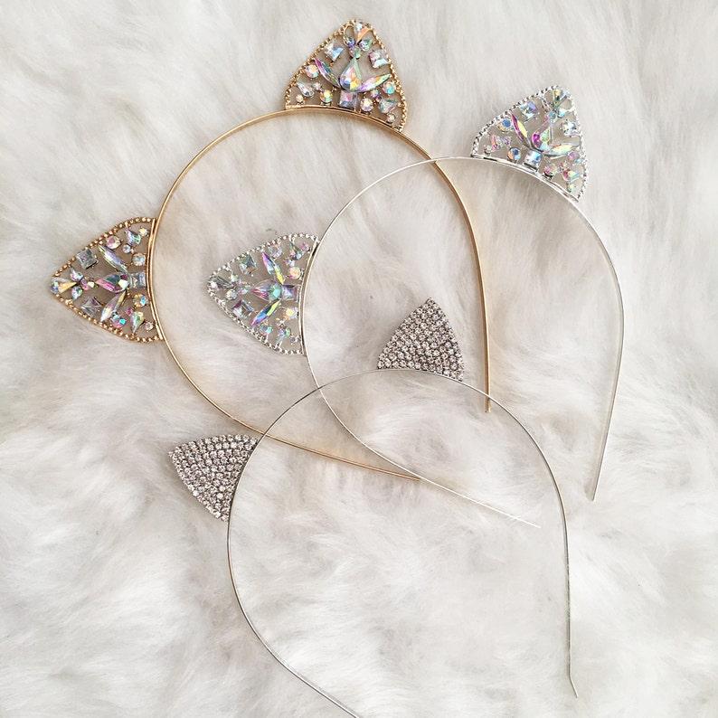 e52c3051c Gold or Silver Crystal Cat Ears Headband Cat Ears Ears | Etsy