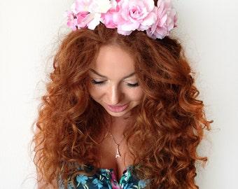 Pink Flower Crown - Flower Headband - Floral Headband - Floral Crown - Boho Headband - Rose Crown - Bridal Headpiece - Wedding Headband