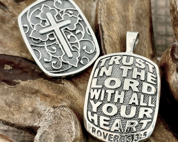 Proverbs 3:5 Trust In The Lord With All Your Heart Two Sided Reversible Christian Necklace Pendant with Cross