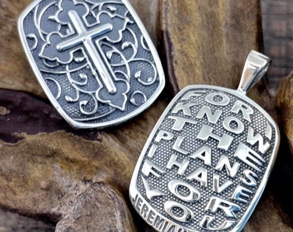 Jeremiah 29:11 For I Know The Plans I Have For You Reversible Christian Bible Verse Pendant Sterling Silver