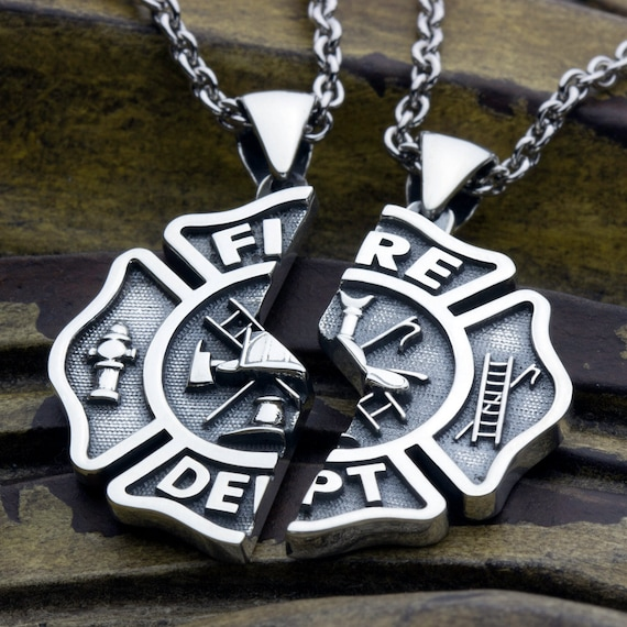 Large Firefighter Fire Department Maltese Cross Two Piece Miz-Pah Couples Best Friends Sterling Silver Necklace Pendant