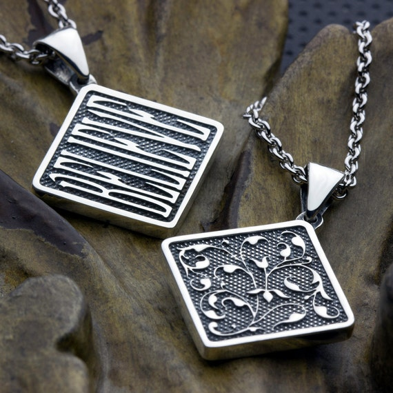Believe Two Sided Reversible Vine Sterling Silver Square Necklace Pendant