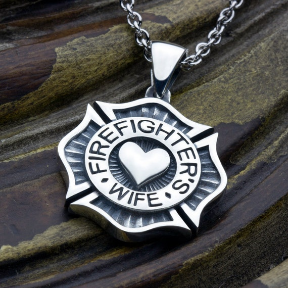 Firefighter's Wife Maltese Cross with Heart Sterling Silver Necklace Pendant