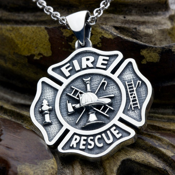 Large Maltese Cross Firefighter Fire and Rescue Sterling Silver Necklace Pendant