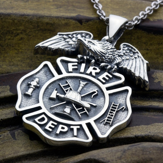 Large Firefighter Fire Department Maltese Cross with Eagle on top Sterling Silver Necklace Pendant