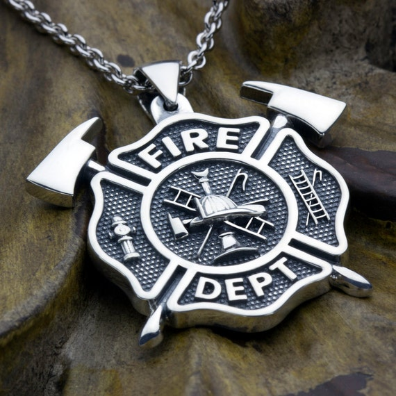 Large Firefighter Maltese Cross Fire Department with Crossed Axes Sterling Silver Necklace Pendant