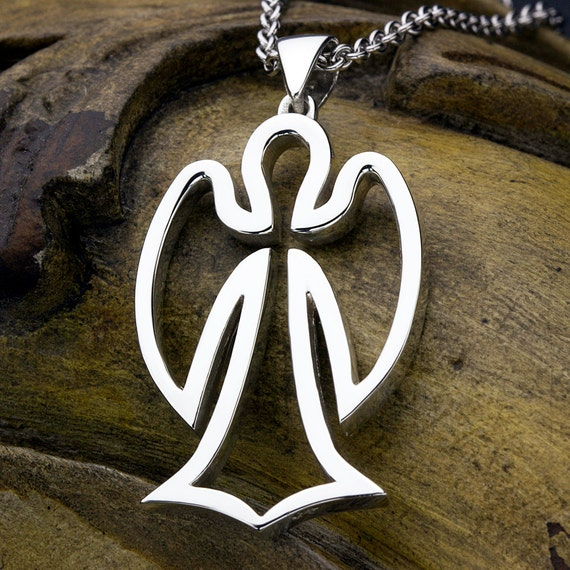 LARGE Angel Outline Sterling Silver Necklace Pendant Christian Jewelry