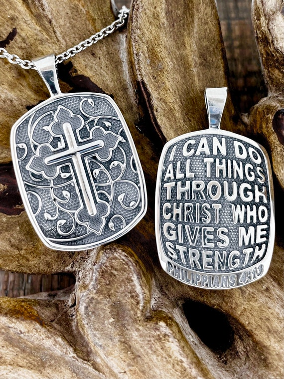 Philippians 4:13 I Can Do All Things Through Christ Who Strengthens Me Reversible Christian Pendant Sterling Silver Necklace