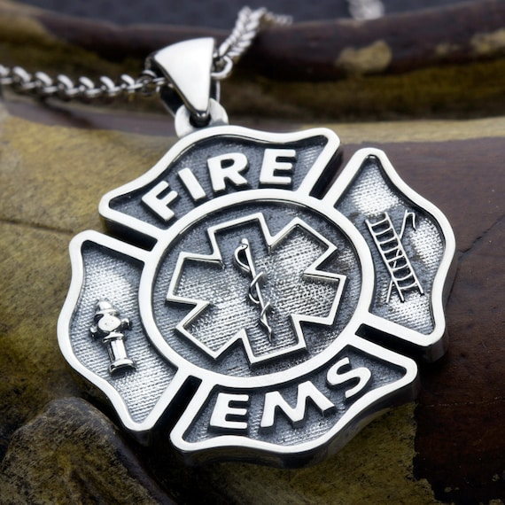 Large Maltese Cross Fire Fighter and EMS Paramedic Star of Life Sterling Silver Necklace Pendant