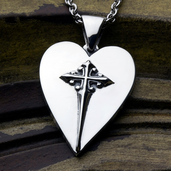 Sterling Silver Christian Jewelry Heart With Cross Necklace Pendant LARGE Size