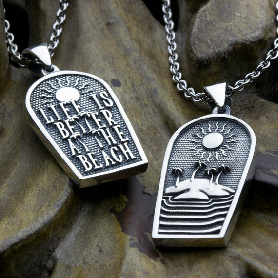 Life Is Better At The Beach Two Sided Reversible Sterling Silver Palm Trees Water and Sun Necklace Pendant