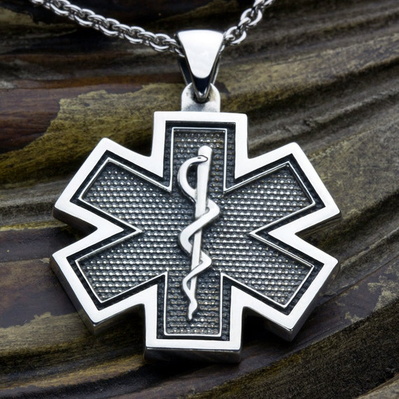 Large  Star of Life EMS Paramedic Medical Alert Sterling Silver Necklace Pendant