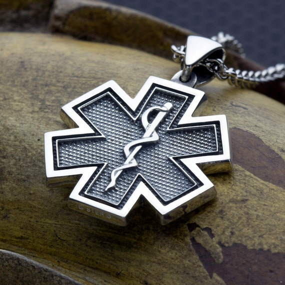 Medium  Star of Life EMS EMT Paramedic Medical Alert Sterling Silver Necklace Pendant