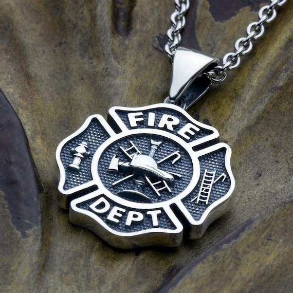 Medium Firefighter Fire Department Maltese Cross Sterling Silver Necklace Pendant