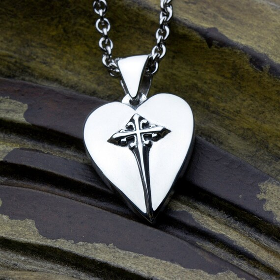 Sterling Silver Christian Jewelry Heart With Cross Necklace Pendant SMALL Size