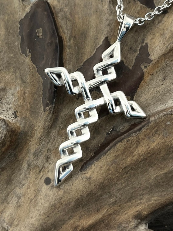 Cross Pendant Jagged Weave Sterling Silver Necklace