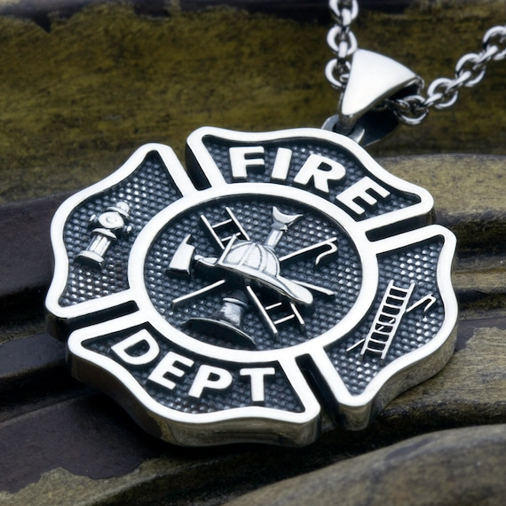 LARGE Maltese Cross Fire Department Sterling Silver Necklace Pendant