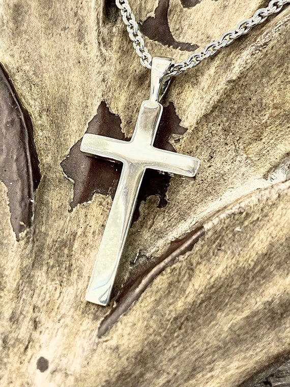Medium Smooth Cross Plain Design Sterling Silver Christian Pendant Necklace