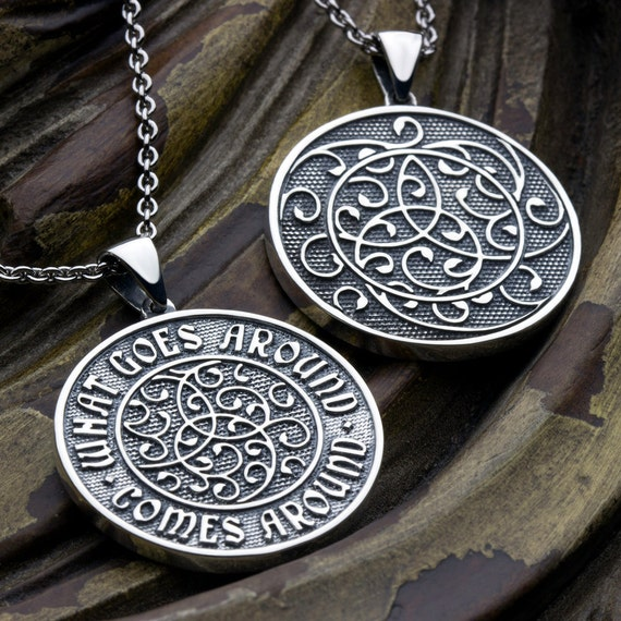 What Goes Around Comes Around Two Sided Sterling Silver Circle Necklace Pendant