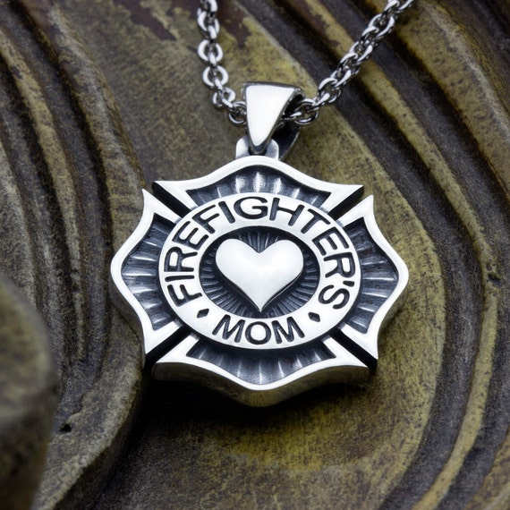 Firefighter's Mom Maltese Cross with Heart Sterling Silver Necklace Pendant