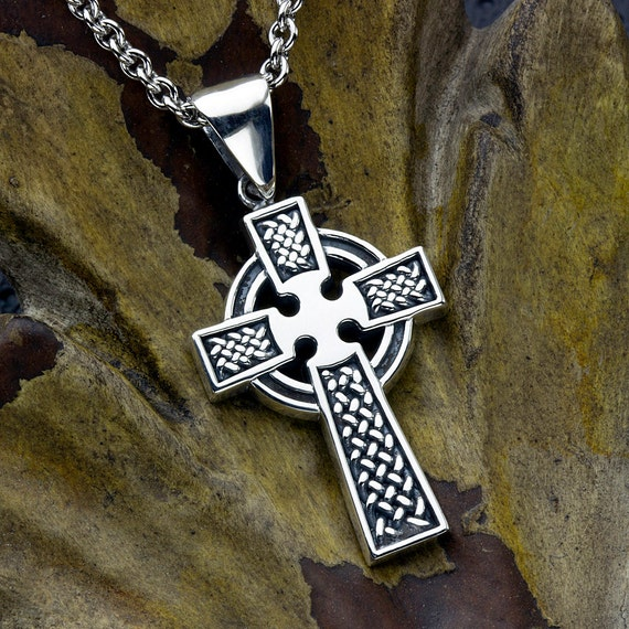 Celtic Cross Christian Pendant Irish Necklace  Sterling Silver