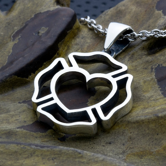 Firefighter Maltese Cross Outline with Heart Center Sterling Silver Necklace Pendant